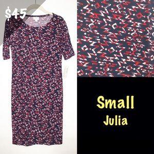 NWT LuLaRoe Small Julia Dress Aztec Blue Pink